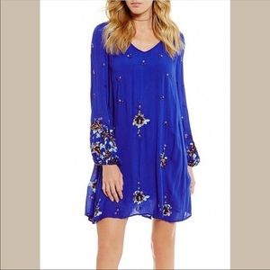 Free People blue embroidered beautiful dress